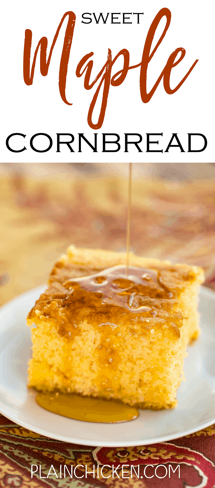 Sweet Maple Cornbread - CRAZY good!! Cake mix, Martha White Sweet Yellow Cornbread Mix, eggs, water, oil and real Maple Syrup. Makes a ton! Great for potlucks and the holidays! Everyone went back for seconds. SO good!