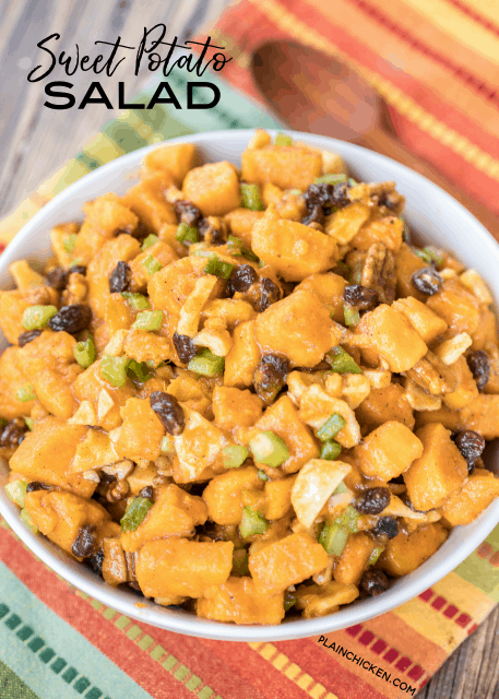 Sweet Potato Salad recipe - an AMAZING side dish!!! Such a great twist on traditional potato salad. Sweet potatoes, apples, pecans, raisins, celery and green onions tossed in a brown sugar, honey, lemon, cinnamon and nutmeg dressing. Everyone RAVES about this dish. Perfect addition to your holiday table! #sweetpotatorecipe #sidedish #thanksgiving #thanksgivingrecipe #christmas #christmasrecipe #sidedishrecipe #sweetpotato