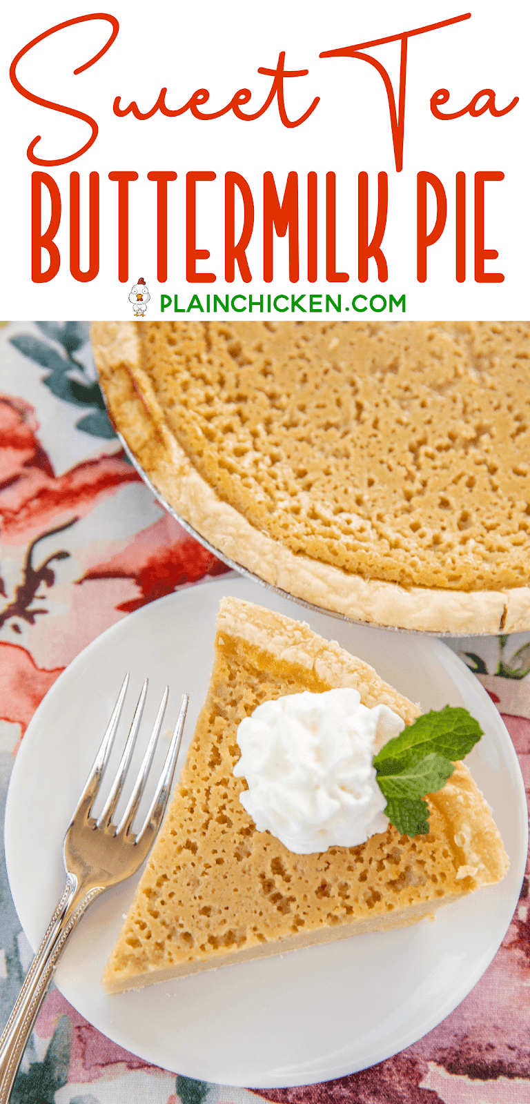 slice of pie topped with whipped cream and mint on a plate