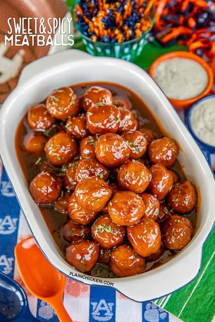baking dish of meatballs