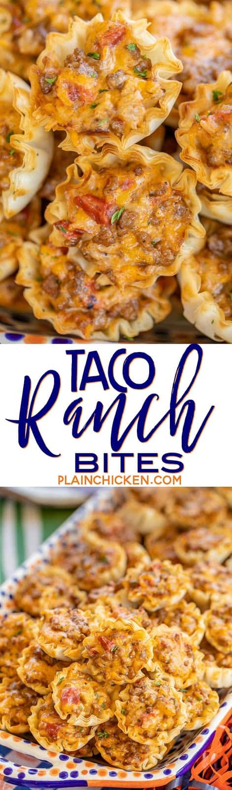 Taco Ranch Bites - seriously delicious!! Only 6 ingredients! Ground beef, taco seasoning, diced tomatoes and green chiles, cheddar cheese, ranch dressing and phyllo tart shells. Can make ahead and refrigerate or freeze for later. I always have a batch in the freezer for a quick snack! Great for tailgating and parties! I never come home with leftovers. Everyone LOVES these cheesy taco bites. #tailgating #taco #beef #ranch #appetizer #partyfood #freezermeal