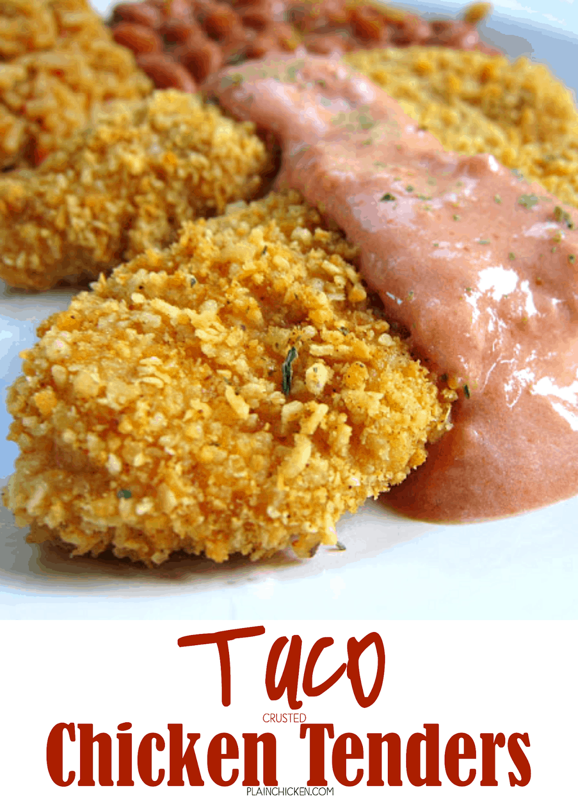 Taco Crusted Chicken Fingers - baked chicken tenders coated in taco seasoning and tortilla chips - served with a creamy salsa on top. We wanted to lick the plate! Can coat the chicken and freeze unbaked for a quick meal later.