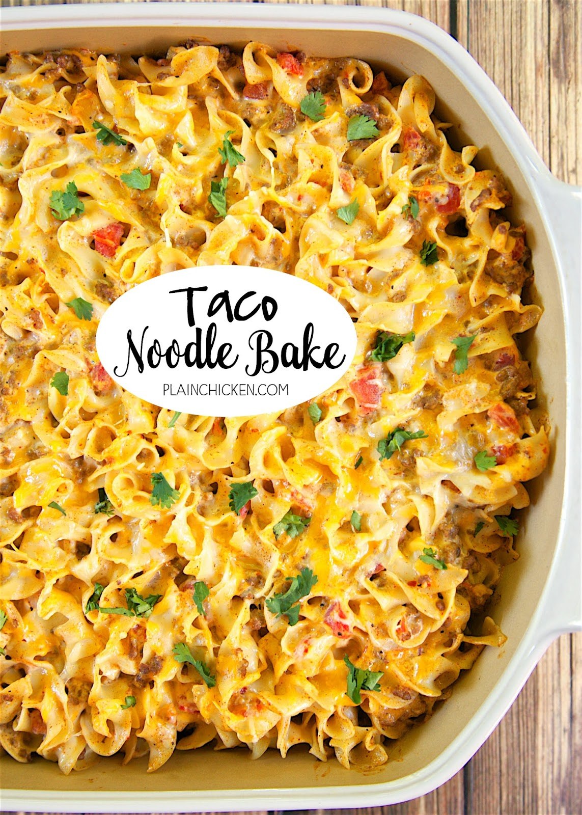 Taco Noodle Bake - SO good!!! Egg noodles, taco meat, cheese, diced tomatoes and green chiles, cheddar cheese soup and sour cream. Everyone cleaned their plate and asked for seconds! Makes a great freezer meal too!! LOVE this easy Mexican casserole!!!