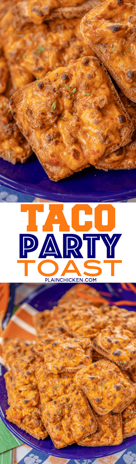 Taco Party Toasts - only 5 ingredients!! Seriously delicious! I took these to a party and they were gone in a flash. Ground beef, taco seasoning, diced tomatoes and green chiles, Velveeta cheese and party rye bread. Can make ahead of time and freezer for later. Great for any occasion - parties, tailgating or a quick lunch or dinner. Taco night was never so fun! #appetizer #taco #tailgating #partyfood