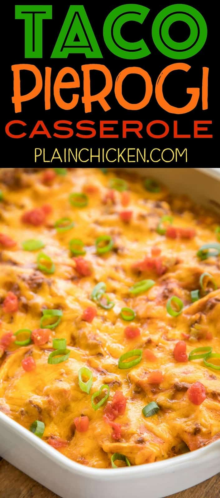 Taco Pierogi Casserole - THE BEST! We ate this two days in a row! Ready in 30 minutes!! Taco meat, velveeta, salsa, cheese pierogies, cream of chicken soup and cheddar cheese. CRAZY good! Everyone cleaned their plates - even our picky eaters! Our favorite Mexican casserole!