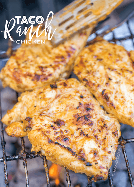 Taco Ranch Chicken - our favorite! SO easy and this tastes delicious! Only 6 ingredients - olive oil, Ranch dressing, taco seasoning, lime juice, vinegar and chicken. Great on its own or on top of a salad or in tacos and quesadillas. We make this at least  once a week! Such a quick and easy Mexican chicken recipe!