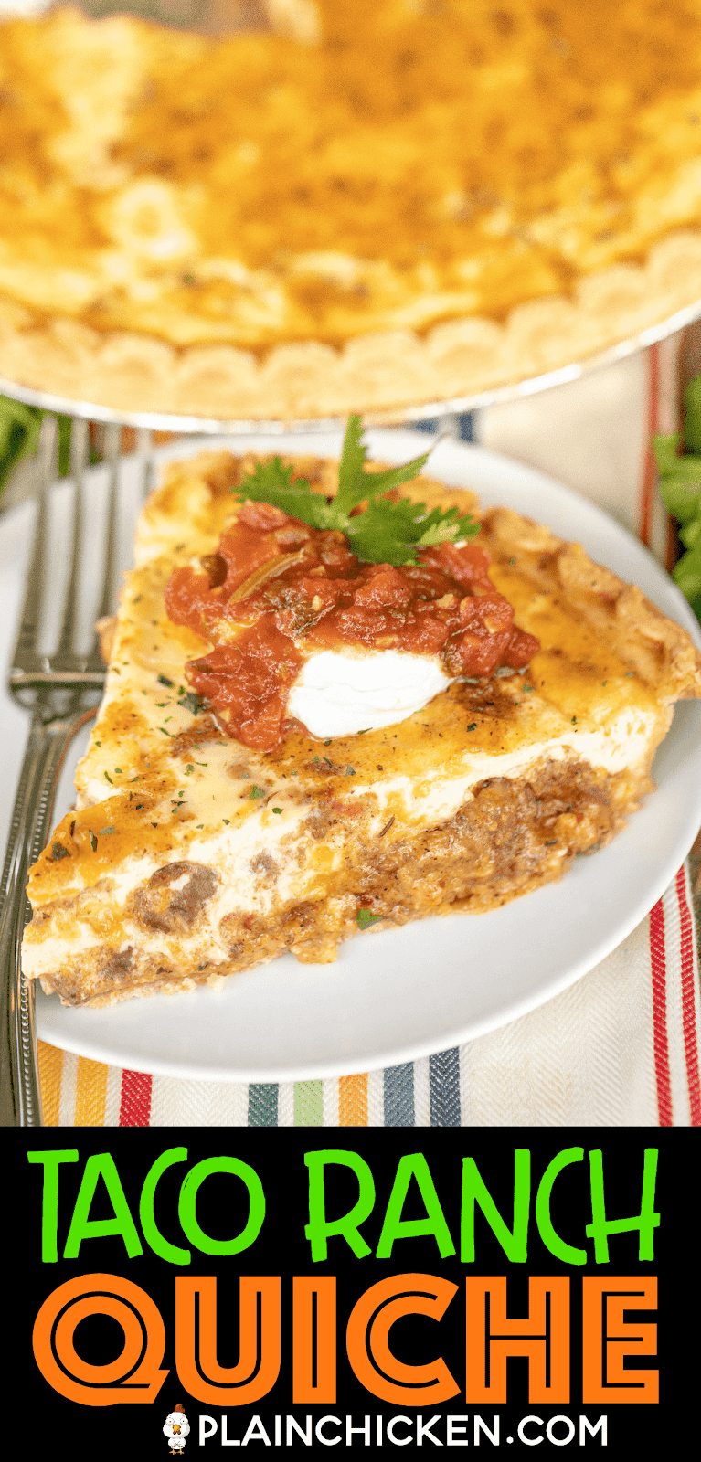 slice of taco ranch quiche on a plate