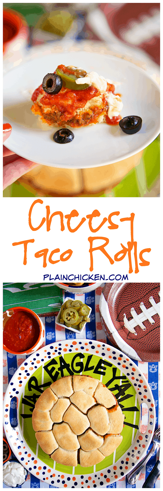 Cheesy Taco Rolls - Sister Schubert rolls stuffed with cheese and spicy taco meat! SO easy and SO good! Top with your favorite taco toppings. Can make ahead and freeze for later. Great for parties or a fun twist to taco night.