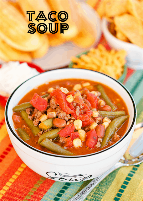 Taco Soup - ready in under 30 minutes! Love this version with green beans and BEER! Hamburger, pinto beans, green beans, ranch beans, stewed tomatoes, beer, diced tomatoes and green chiles, taco seasoning and Ranch dressing mix. We make this at least twice a month. SO good!! Can freeze leftovers for a quick meal later. You can also make this in the slow cooker.