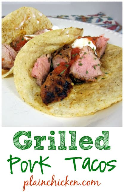Grilled Pork Tacos Recipe - pork tenderloin marinated in lime juice, oregano, sugar, chipotle peppers, garlic and olive oil - grill to perfection, chop, serve in corn tortillas with your favorite taco toppings. SO yummy! I double the recipe for leftovers.