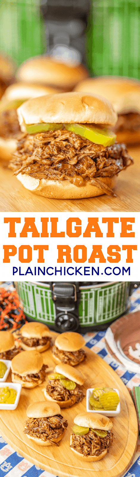 TTailgate Pot Roast - Coca Cola Pot Roast - great to feed a crowd! Not just for tailgating! Makes a delicious lunch or dinner too. We like to serve the roast on slider buns with pickles and mustard. Pot roast, coca-cola, Worcestershire, onion, chili sauce. Dump everything in the crock-pot and let it do all the work! SO easy and seriously delicious! #slowcooker #crockpot #roast #sliders #tailgating