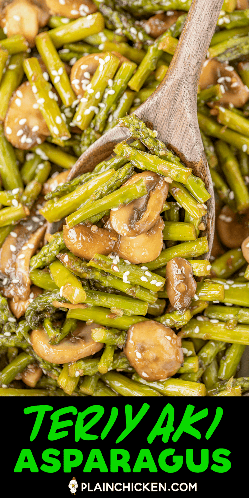 scooping asparagus and mushrooms from skillet