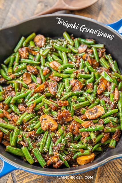 skillet of green beans with mushrooms