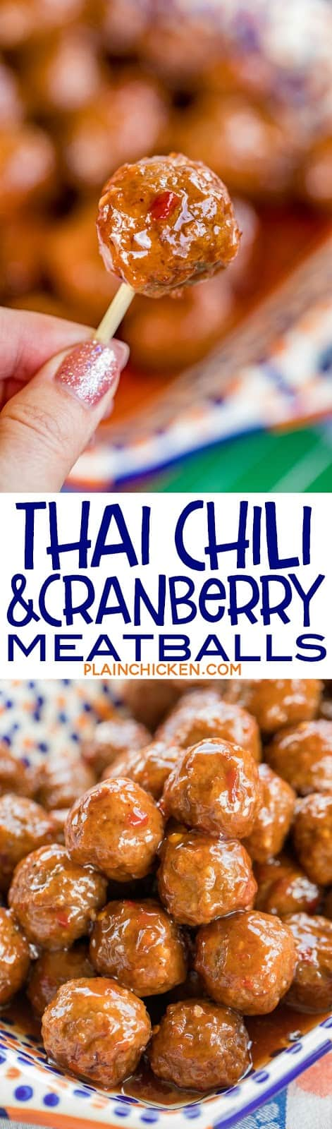 Thai Chili and Cranberry Meatballs - only 3 ingredients!!! Can be made in the slow cooker - great for holiday parties! These things FLY off the plate. SO good!!! Can also serve as a main dish over rice or noodles. I always have the ingredients on hand for a quick appetizer or dinner. #slowcooker #meatballs #appetizer
