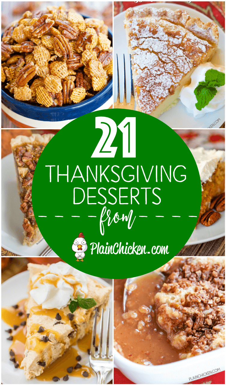 21 of the BEST Thanksgiving desserts - something for everyone! Pumpkin, apple, pecans, and the BEST cheesecake EVER! You don't want to miss this list!!! #dessert #thanksgiving