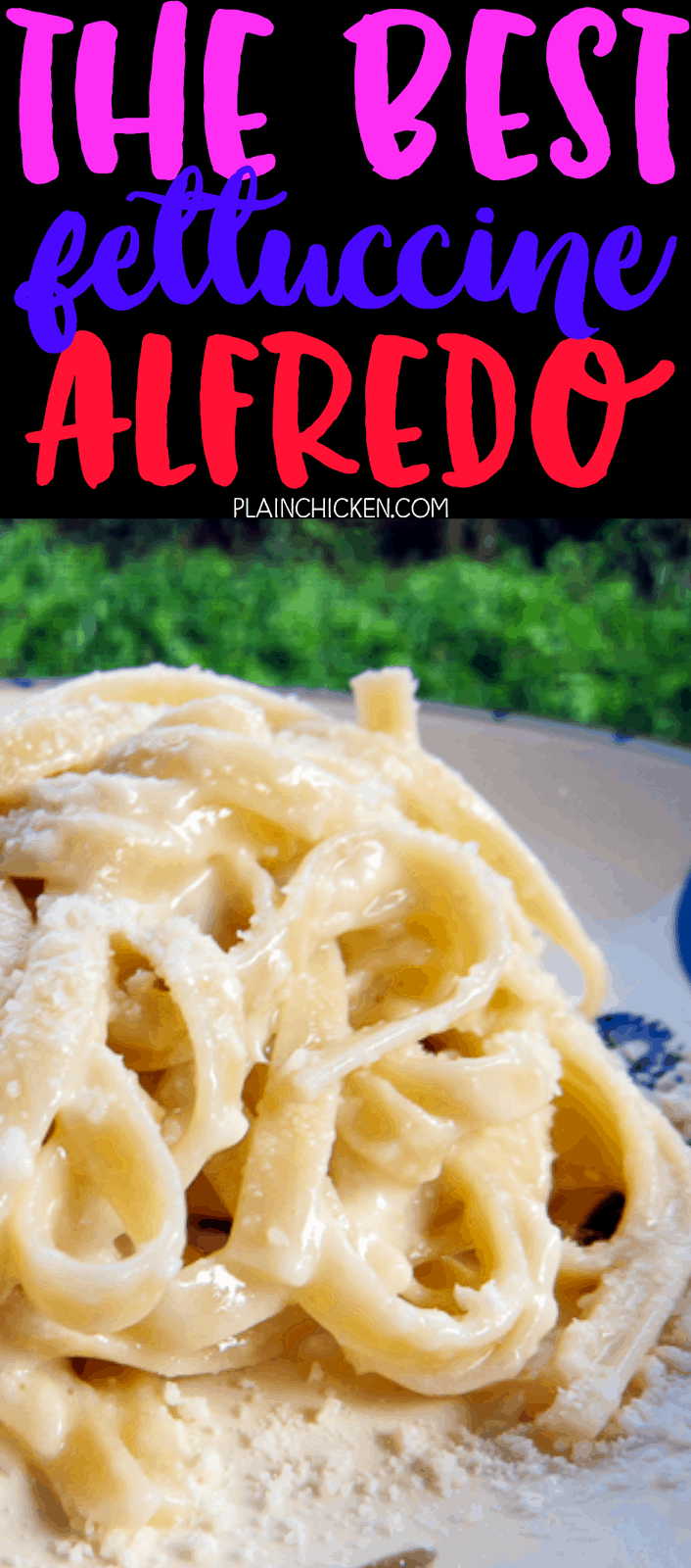 THE BEST Fettuccine Alfredo Sauce Recipe - only 3 ingredients!! Top with grilled chicken for an amazing meal! Ready in minutes!! Better than any restaurant!! A great easy weeknight recipe!