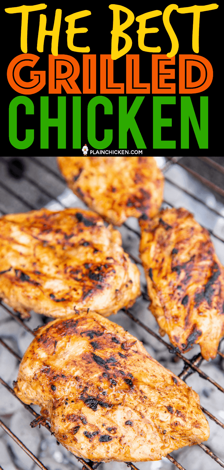 The BEST Grilled Chicken - SO good!!! We made this twice in one week! We just couldn't get enough of it!!! Chicken marinated in olive oil, onion powder, cider vinegar, sugar, chili powder, salt, Worcestershire, pepper, ground mustard, hot sauce and garlic. Leftovers are great on top of salads or in wraps. This is the most tender and juicy chicken we've ever made. SO much amazing flavor!! #chicken #marinade #grill #grilling #grilledchicken