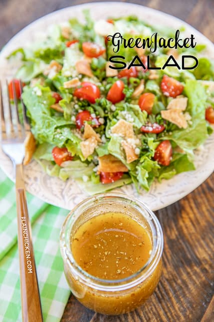 Green Jacket Salad - original recipe from the Green Jacket restaurant in Augusta. SO simple and it tastes great! Lettuce, tomatoes, parsley, green onions, pita chips, olive oil, red wine vinegar, seasoned salt, oregano and parmesan cheese. Goes great with chicken, steak, soup, sandwiches, pizza - anything! Can make in advance and toss together when ready to serve.