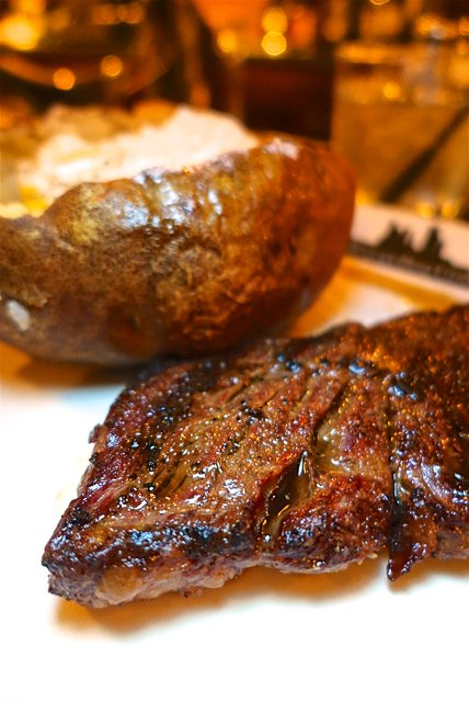 Skirt Steak and Baked Potato at The Metropolitan Grill in Seattle, WA