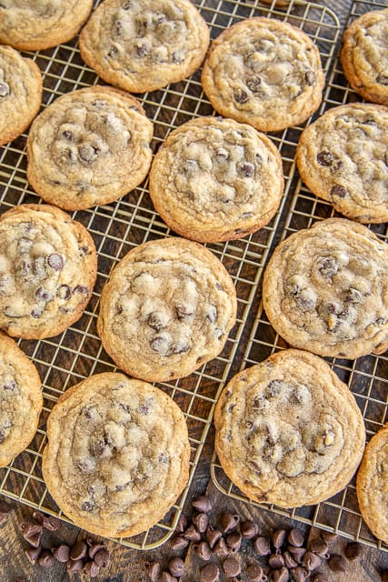 chocolate chip cookies on baking rack