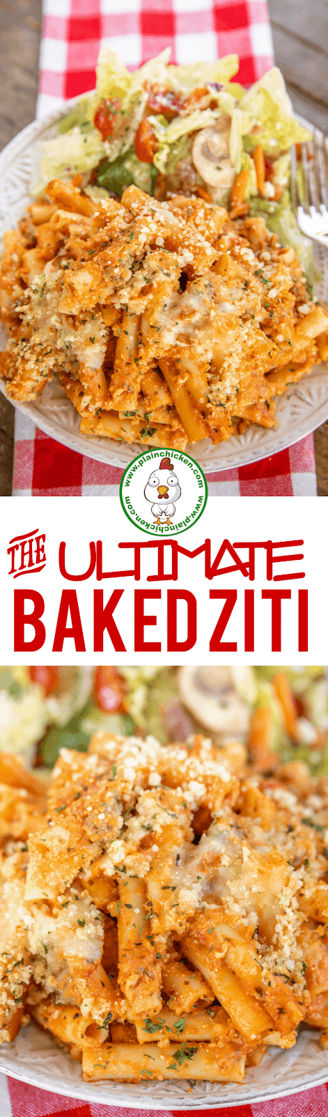 collage of 2 photos of baked ziti on a plate