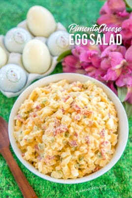 pimento cheese egg salad in a bowl