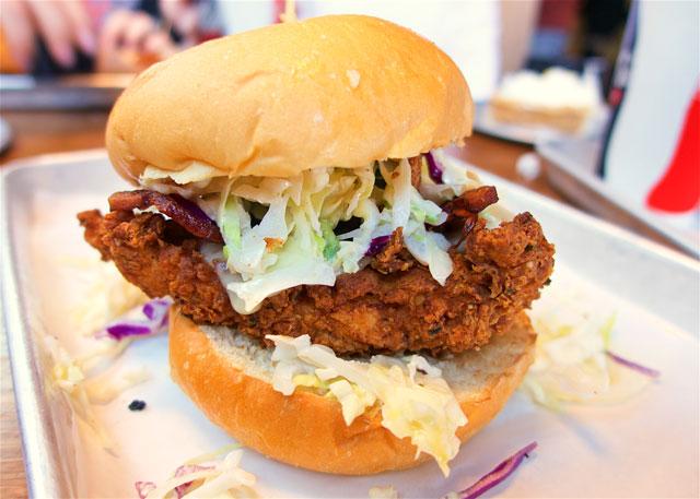 The Freeboard  - Southern Fried Chicken, bacon, swiss, jalapeño slaw and bacon honey mustard - from Tilt in Portland, OR. AMAZING sandwich!