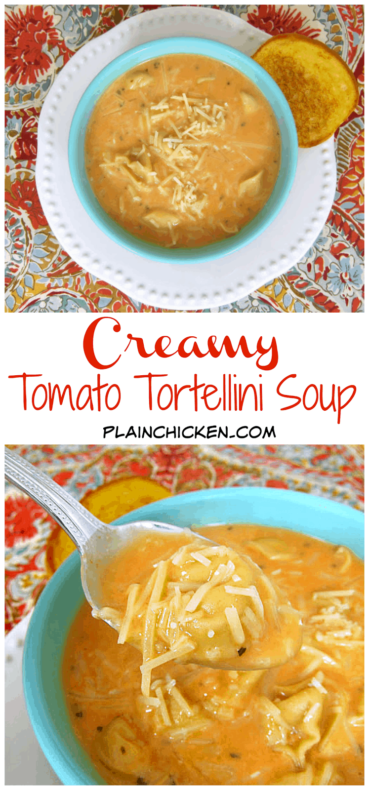 Creamy Tomato Tortellini Soup - Ready in 10 minutes!!! Doctored up canned tomato soup with refrigerated tortellini, chicken broth, half-and-half, onion powder, garlic powder, basil and parmesan cheese. This stuff is crazy good! No one will ever know it starts with canned soup! I can't get enough of it!