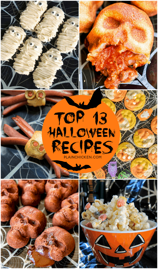 13 of our favorite Halloween recipes! Perfect for all your parties and classroom treats. There are even some easy breakfast treats! Eat Halloween themed food all day long! #halloween #desserts