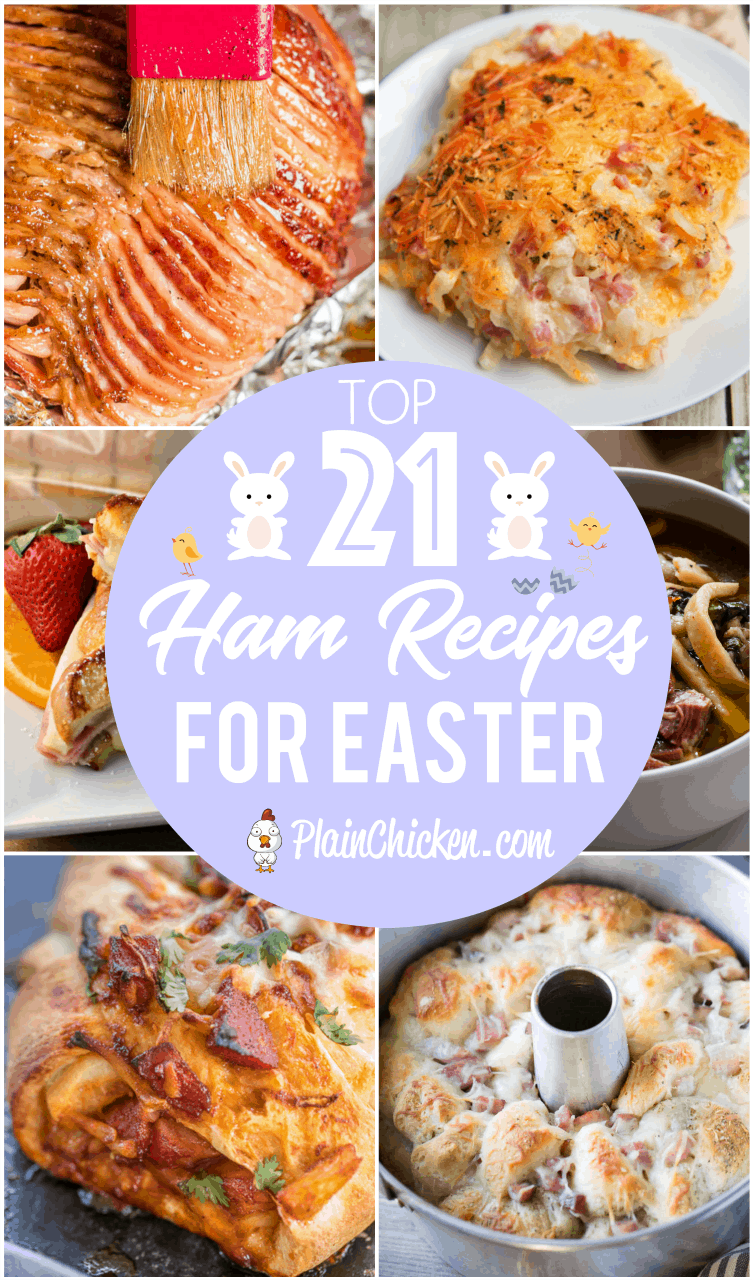 Top 21 Ham Recipes for Easter - the best of the best! Whole hams and recipes for all the leftovers. Slow Cooker ham, baked ham, ham casseroles, ham pizza, ham cheese ball, ham and swiss monkey bread, ham soups and homemade ham stock! Something for everyone!! #easter #ham #soup #leftovers #slowcooker