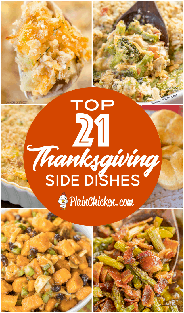 21 Family Favorite Thanksgiving Side Dishes - something for everyone at your holiday table. Lots of make-ahead and slow cooker recipes to make the holiday meal preparation stress-free. #thanksgiving #sidedishes #vegetables #casseroles
