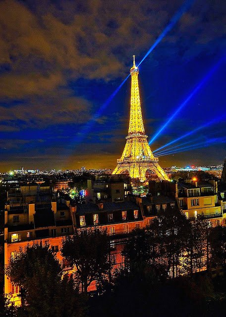 The Eiffel Tower as seen from the Shangri-La Hotel in Paris