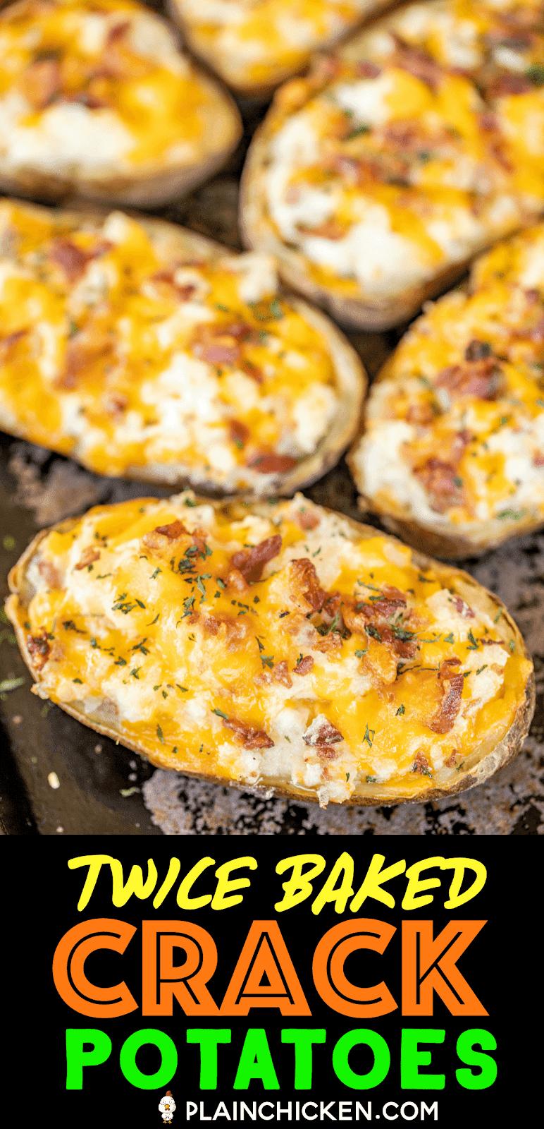 twice baked potatoes on a baking pan