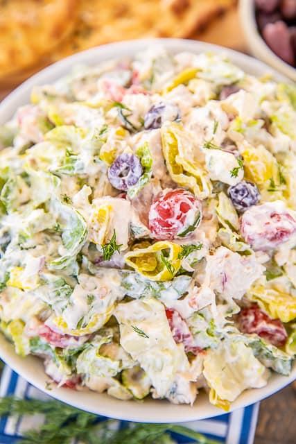 greek chicken salad in a  bowl