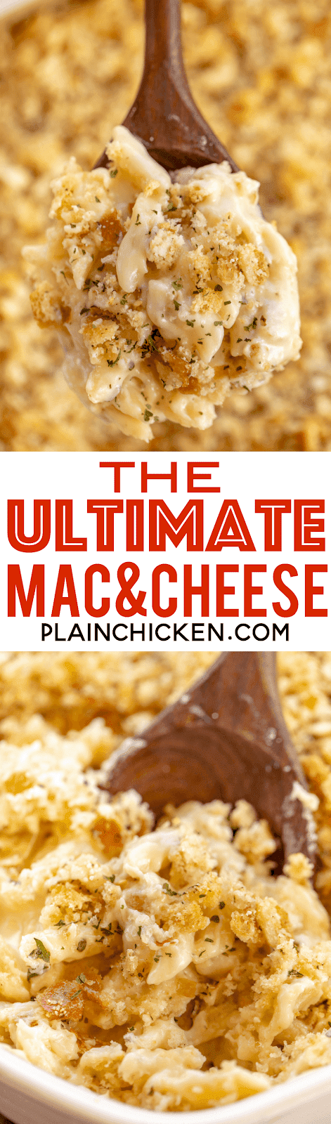 Ultimate Mac and Cheese - loaded with Havarti, White Cheddar and Parmesan and topped with yummy Garlic Parmesan Breadcrumbs. Makes a ton - great for potlucks, parties and the holidays! There are never any leftovers! Everyone RAVES about this delicious pasta casserole! #pasta #macandcheese #casserole #sidedish