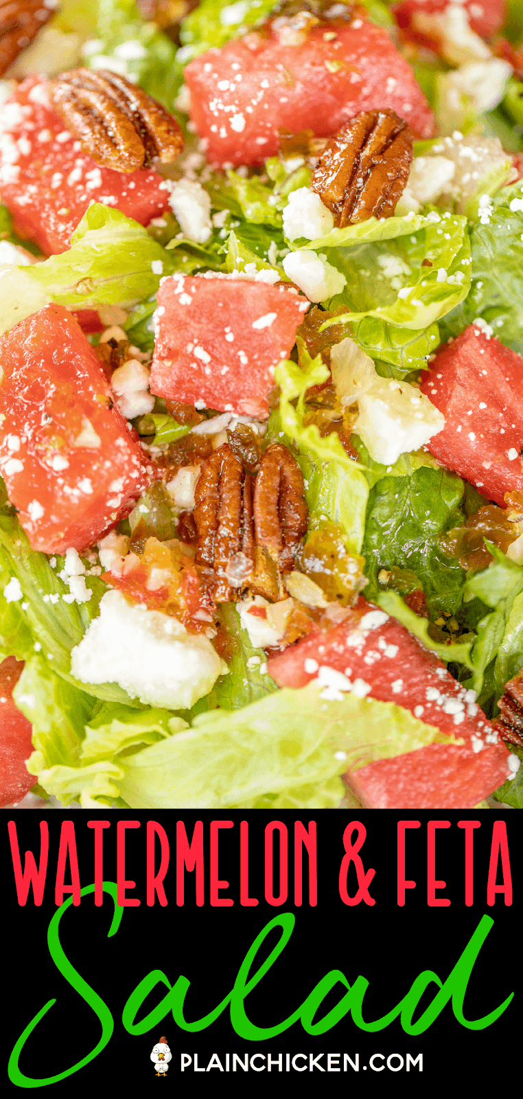close up of watermelon and feta salad