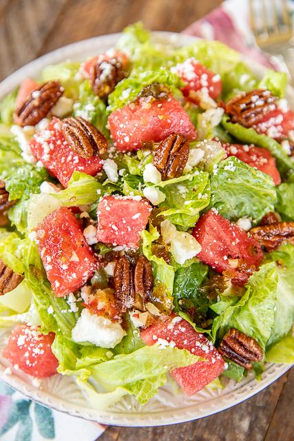 watermelon & feta salad on a plate