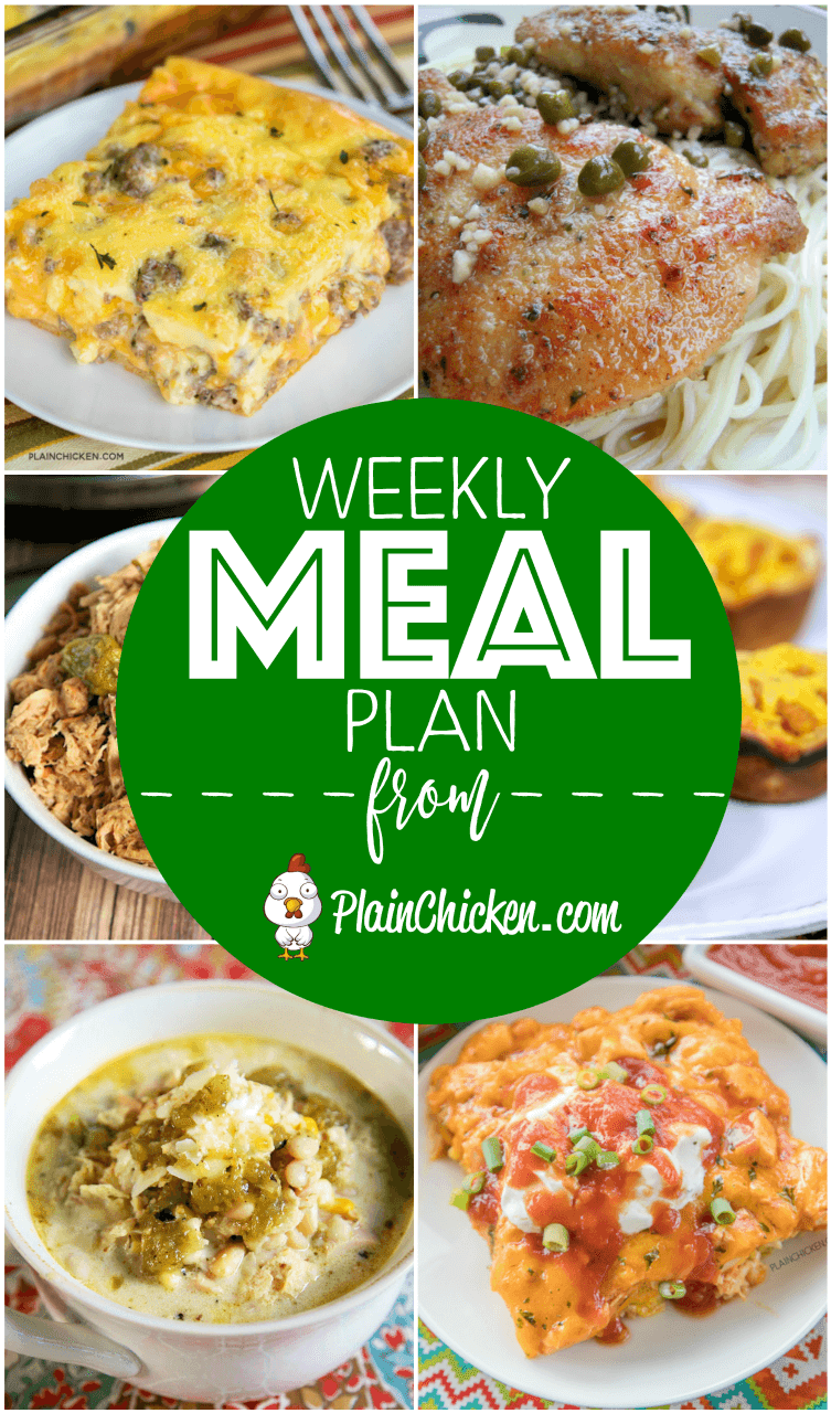 What's For Dinner? A quick and easy recipe for everyday of the week. Main dishes, side dishes and desserts! Something for everyone on this meal plan! #mealplan #dinnerrecipes