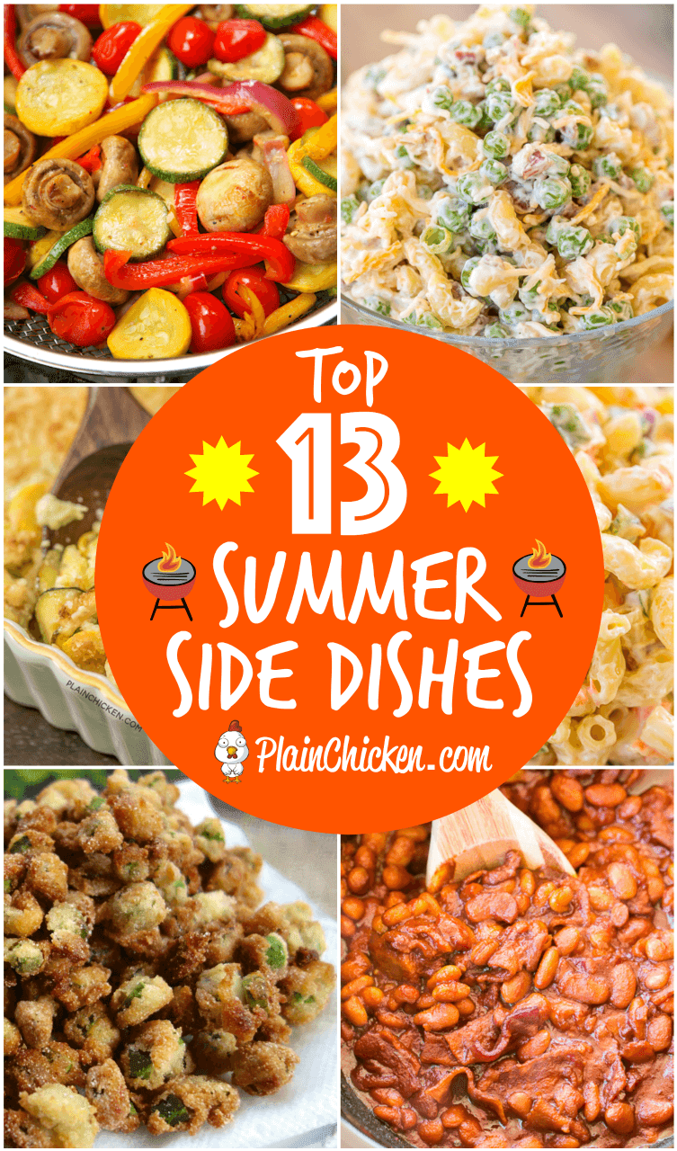 Top 13 Summer Side Dishes - our best side dishes for all your summer cookouts! Pasta salads, casseroles, slow cooker recipes, grilled vegetables. Something for everyone! #sidedish #pastasalad #casseroles