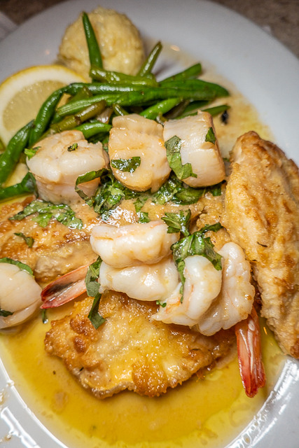pompano and shrimp entree
