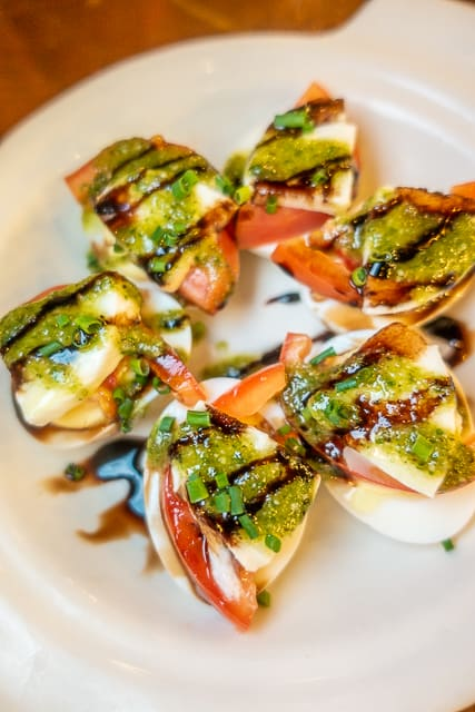 Caprese Deviled Eggs - Prohibition Kitchen - St Augustine FL