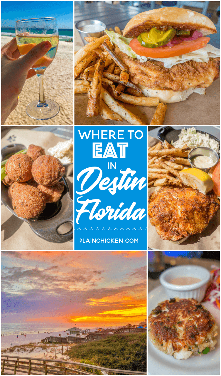 Where to Eat in Destin, FL - Sandestin, FL - great places to eat when you are at the beach! Touristy places and hidden gems that only the locals go to. Pompano Joe's, Fat Clemenza's, Grimaldi's, The Donut Hole, Seagar's, Boschamp's and Ocean Club. You don't want to miss these places! #travel #florida #destin #sandetin