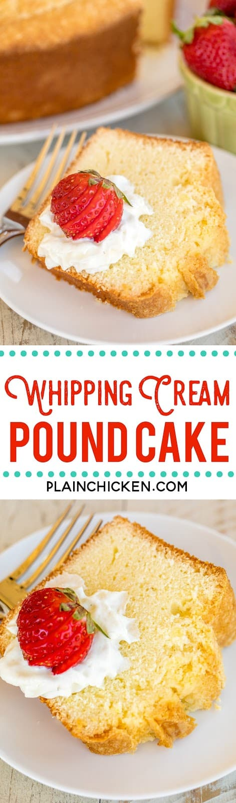Whipping Cream Pound Cake - I've been making this cake for over 20 years and it never fails me! Seriously DELICIOUS!!! The key to success is to have all your ingredients at room temperature. Butter, sugar, eggs, cake flour, heavy cream, vanilla and orange extract. Can freeze leftover for a sweet treat later! Make this ASAP! #poundcake #dessert #cakerecipe