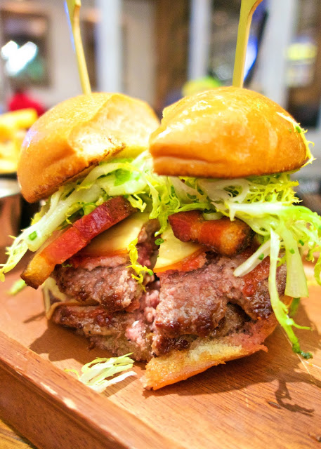 Yardbird Southern Table and Bar - Las Vegas - Swine Burger - short rib, brisket, and chuck blend, house smoked pork belly, house pickles, smoked gouda cheese, bbq bacon, frisée - served with house-made buttermilk ranch dressing - AMAZING!