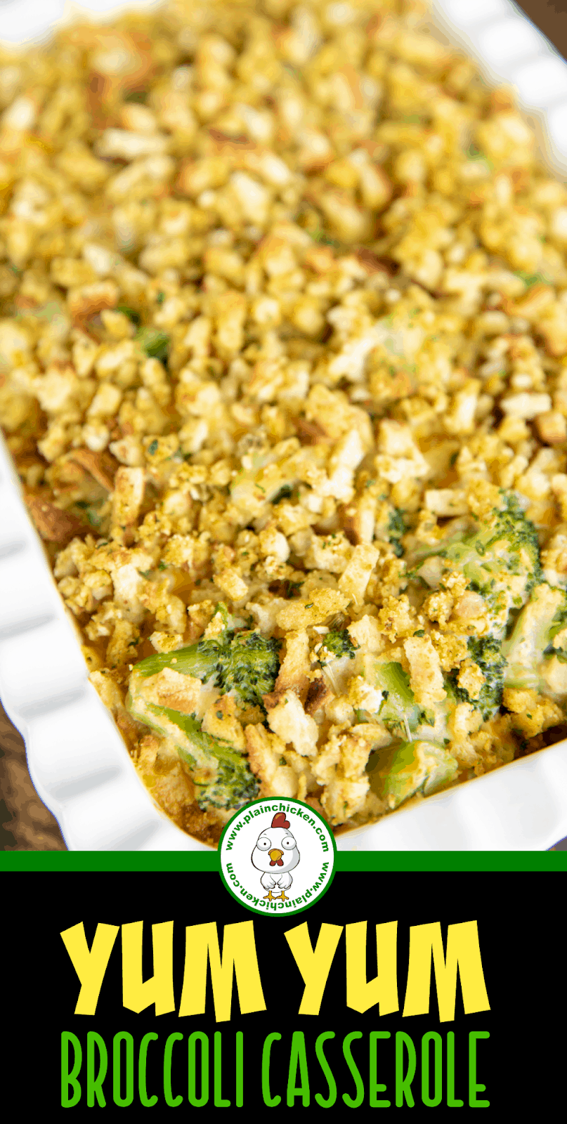 broccoli casserole in a baking dish