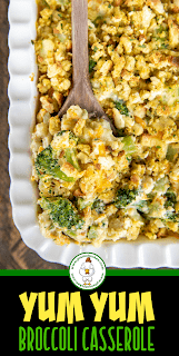 spooning broccoli casserole from baking dish