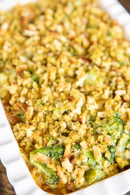 broccoli casserole in baking dish