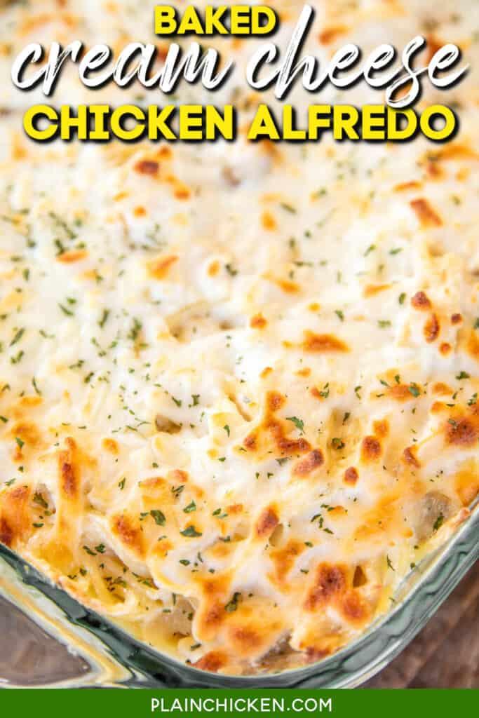 baking dish of chicken alfredo casserole