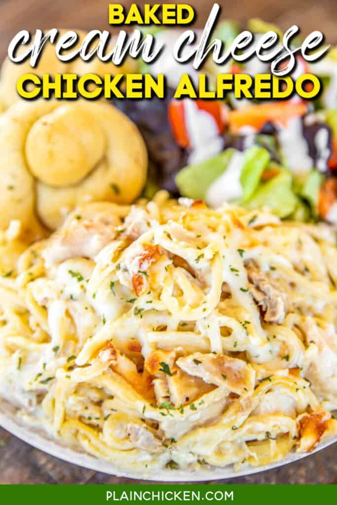 plate of chicken alfredo casserole