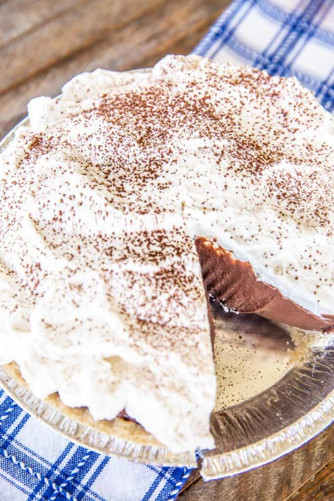 chocolate cream pie in pan
